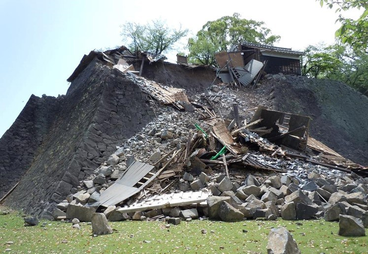 Kumamoto damaged by a series of earthquakes.